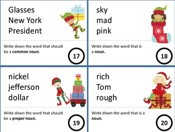 11 Centers: Santa, Reindeer Noun/Adjective/Verb and Synonym/Antonym Games