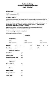 11 College Mathematics Culminating Activity/Exam Review (version 1)