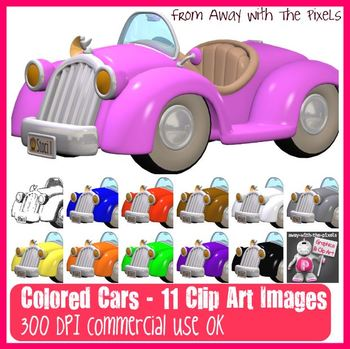 11 Color Cars Clip Art Images - Clipart for Teachers