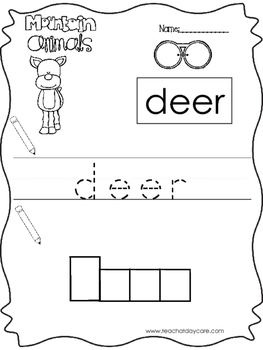 11 Color, Read, Trace, and Box Write Mountain Animals Worksheets. Preschool-KD