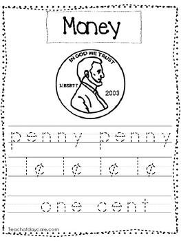 11 Color and Trace Money Worksheets.  Preschool-1st Grade Math.