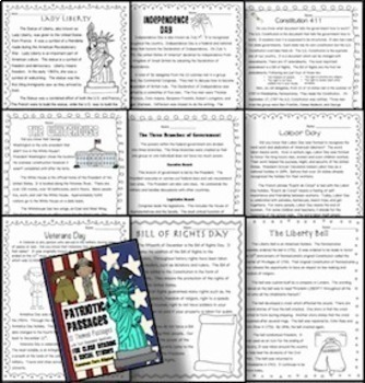 11 Common Core Patriotic Themed Passages for Social Studies Close Reading