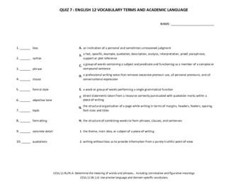 11 Common Core Vocabulary Quizzes for 12th Grade English
