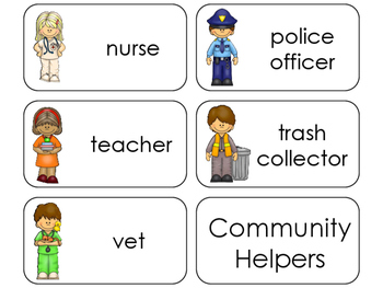11 Community Helpers Beginning Stages Flashcards. Preschool-1st Grade