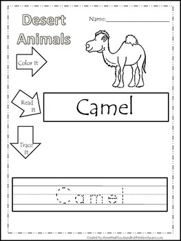 11 desert animal themed printable preschool worksheets color read trace wor. Black Bedroom Furniture Sets. Home Design Ideas