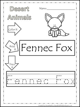 11 Desert Animal themed printable preschool worksheets.  Color, Read, Trace wor