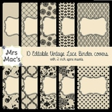 11 Editable Vintage Lace Binder Covers with spine insert