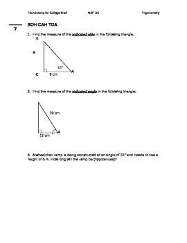 11 Foundations for College Mathematics Trigonometry Test
