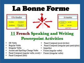 11 French Speaking and Writing Powerpoint Activities (La B