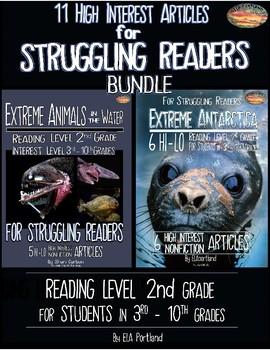 Hi - Lo 11 Articles for Struggling Readers 3rd - 10th Grades ~BUNDLE~