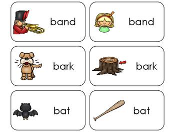 11 Homonyms Printable Flashcards. Preschool-1st Grade
