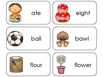 11 Homophones Beginning Stages Flashcards. Preschool-1st Grade