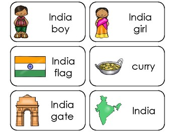 11 India Printable Flashcards. Preschool-3rd Grade