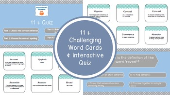 11 + Interactive Quiz and Challenging Words
