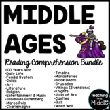 12 Middle Ages Reading Comprehension worksheets, stations quiz