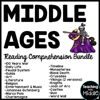 12 Middle Ages Reading Comprehension Bundle, Medieval Times, Dark Ages