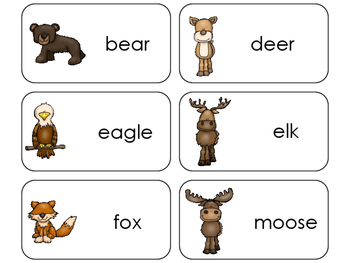11 Mountain Animals Beginning Stages Flashcards. Preschool-1st Grade