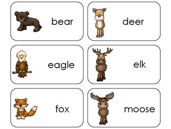 11 Mountain Animals Beginning Stages Flashcards. Preschool-1st Grade