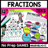 11 No Prep Fraction Games for 4th grade TEKS and STAAR prep