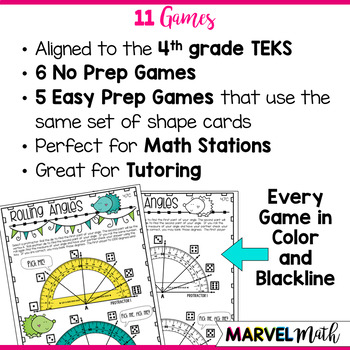 11 No Prep and Low Prep Geometry Games 4th Grade TEKS by Marvel Math