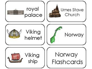 11 Norway Printable Flashcards. Preschool-3rd Grade