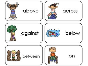 11 Prepositions Printable Flashcards. Preschool-1st Grade