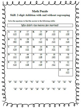 math puzzles solve 2 digit addition problems to solve riddles. Black Bedroom Furniture Sets. Home Design Ideas