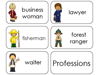 11 Professions Beginning Stages Flashcards. Preschool-1st Grade