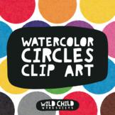 Bright Movable Rainbow Watercolor Circles Clip Art for Com