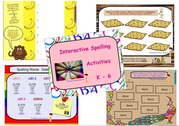 Word Work - 11 INTERACTIVE SMARTBOARD Spelling Pages for any list