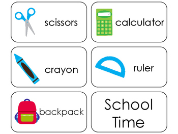 11 School Time Beginning Stages Flashcards. Preschool-1st Grade