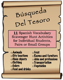 11 Spanish Vocabulary Scavenger/Treasure Hunt Activities