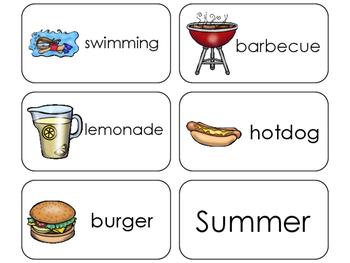 11 Summer Beginning Stages Flashcards. Preschool-1st Grade