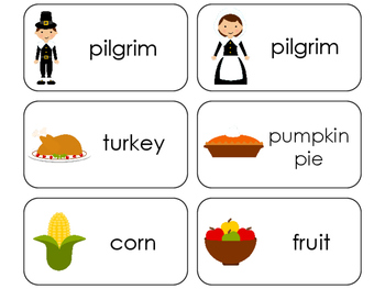 11 Thanksgiving Beginning Stages Flashcards. Preschool-1st Grade