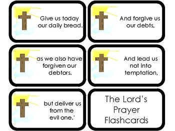 11 The Lord's Prayer Printable Flashcards. Preschool-Elementary Bible Study.