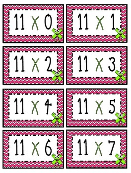 """""""11"""" Times Table Flash Cards"""