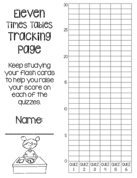 11 Times Tables Multiplication Fluency- 6 Quizzes with Self-Monitoring Graph