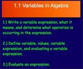 1.1 Variables in Algebra