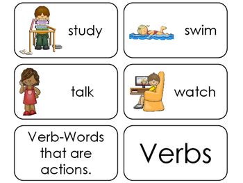 11 Verbs Printable Flashcards. Preschool-1st Grade