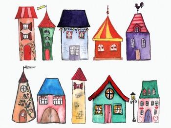 11 Watercolor Houses Clip Art