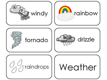 11 Weather Beginning Stages Flashcards. Preschool-1st Grade