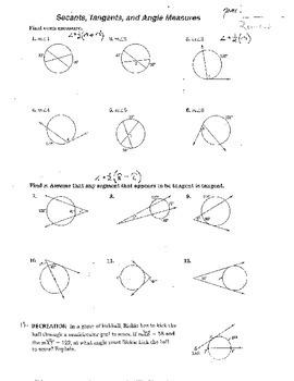 11 Worksheets Secants Tangents Equations of Circles Circumference Soh Cah Toa