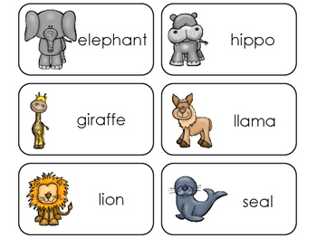 11 Zoo Animals Beginning Stages Flashcards. Preschool-1st Grade