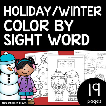 11 PAGES! CHRISTMAS/WINTER COLOR BY SIGHT WORD!