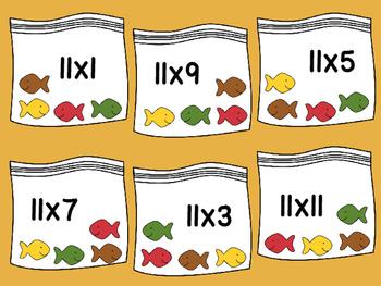 11's Multiplication File Folder- Cracker Fish Snacks
