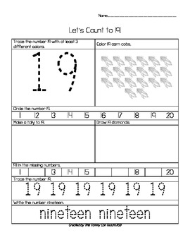 11 to 20 Common Core Number Skills Worksheets