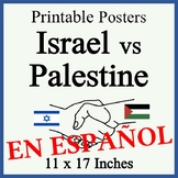 Israel vs Palestine Posters - Blank and Filled - SPANISH - Easy-to-Print 11 x 17