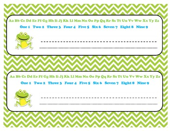 11 x 3 Alphabet and Number Name Plates with Adorable Chevron & Frog Theme