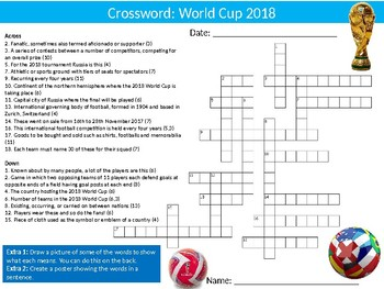 11 x The World Cup 2018 Tutor Activities Lesson PE Football Sport Wordsearch