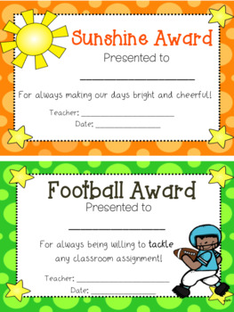 110 End of Year Award Certificates in Half Sheet Format